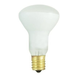 Bulbrite - Mini Reflector Dimmable Incandescent Bulbs in - One pack of 25 Bulbs. 120V E17 intermediate base bulb. Flood beam spread. Made with vibration resistant filament for longer life. Ideal for dramatic accent and display lighting as well as general applications. To fit any ceiling fan, amusement, recessed, pendant, downlight, sign, display and track application. Average hours: 1500. Color temperature: 2600 K. Color rendering index: 100. Wattage: 40 watt. Lumens: 380 CP. Maximum overall length: 3.12 in.
