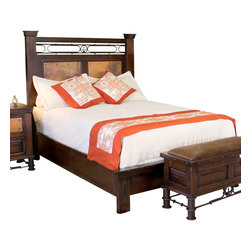 Artisan Home Furniture - Artisan Home Valencia Platform Bed in Multi-Step Lacquer Finish - Queen - Selected pine a great value. Multi-step lacquer finish protects wood and adds character. Wood distressing adds old world appeal. Provides additional strength on drawers. Makes sturdy and durable quality cases. Full view and smooth glide on drawers. Great value. The copper is hand hammered and fired just like the old world tradition. The firing gives the copper its many variations and makes each panel a work of art. No two panels will match, but the entire collection blends together. Copper has been protected with a final clear lacquer coating.