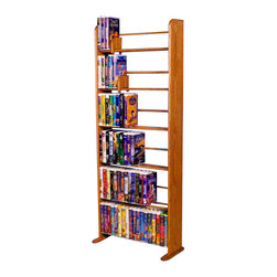 CD Racks - Solid Oak 6 Row Dowel VHS Rack (Clamshell/ Disney style) - Handcrafted by the Wood Shed from durable solid oak hardwood