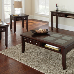 """Steve Silver Furniture - Steve Silver Murphy 4 Piece Coffee Table Set in Rich Espresso - Unique design touches make the classic style of the Murphy Collection stand out. The Murphy cocktail table stands 19"""" high, with a 48"""" x 28"""" wood top with glass inlay, a convenient upper display shelf and a storage drawer. This stunning piece complements the Murphy end table and sofa table. - MP100C-4-SET.  Product features: Multi-Step Rich Espresso Finish; Transitional Styling; Inset Glass. Product includes: Cocktail Table (1); End Table (1); Chairside End Table (1); Sofa Table (1). 4 Piece Coffee Table Set in Rich Espresso belongs to Murphy Collection by Steve Silver."""