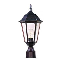 Joshua Marshal - One Light Empire Bronze Clear Glass Post Light - One Light Empire Bronze Clear Glass Post Light