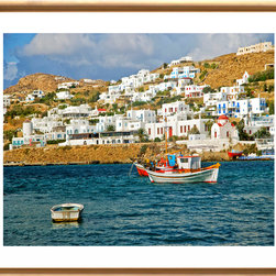 Artwork - Mykonos: Greece - image depicts a fishing boat in the waters off Mykonos Island Greece.  This rendition is available printed to order on archival enhanced matte or premium luster paper with archival in guaranteed to last for 75 years. It measures 24 x 30. Framing includes dry mount, dbl. acid free neutral matting, glass, solid gold wood frame, backing paper and shipping included. Image is titled and signed by artist. The Exclusive Sadkowski Collection where every image looks like a painting.