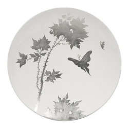 "IMAX - Mershaw Charger - A brilliant white lacquered finish with a delicate silver leaf floral pattern give the Mershaw charger an elegant yet bold presence. Item Dimensions: (3.25""h x 19.75""w x 19.75"")"