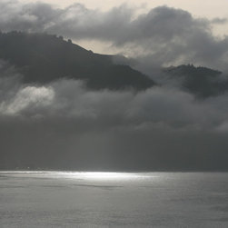 Tim Burns Photography - Seeing the Light Fine Art Digital Photograph Signed Limited Edition, 30x 40 - A  warm mix of warm grey tones as the sun dances with the Clouds on the Pacific Ocean. Mystery and drama yet strangely peaceful.
