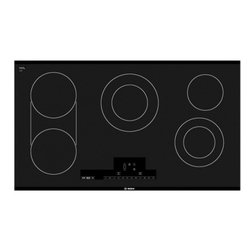 "Bosch - NET8666UC 800 Series 36"" Electric Cooktop with Five Elements  17 Direct Cooking - Smooth glass cooktop features 5 elements PreciseSelect offers 17 different direct cooking level settings The bridge elements accomodates oblong or oversized pans and griddles The two level heat indicator warns if the cooktop is hot or not The child l..."