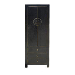 Golden Lotus - Chinese Silk Lacquer Solid Wood Moon Face Hardware Black Cabinet - This black cabinet is made of solid elm wood and has exquisite silk lacquer. Silk lacquer is famous for its charming rustic net line effect and extra protection for scratches.