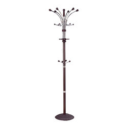 Adarn Inc. - Hubert 4 Levels of Metal Frame Hooks Coat Hat Rack Hanger Hall Tree, Espresso - Bring this Hubert Coat Rack in Natural / Oak / Espresso / into your hall or entryway for a stylish greeting for guests. Four levels of hook placement enhances the storage capacity of this hall tree for a functional addition to your hallway, entryway or living room. A metal frame is accented cover details in oak for an upscale, warm look that blends seamlessly with existing decor.