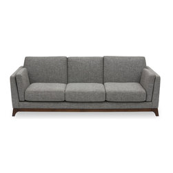 Bryght - Ceni Coral Sofa - The Ceni Coral sofa fuses the classic with the modern, with its neutral tone, plush seating, sleek track arms and clean design lines. Its beautifully crafted wooden base with slanted legs enhances its strong and sturdy construction, while its detachable cushion seats, backrests and armrests allow you to snuggle up comfortably. Team the Ceni Coral sofa with the Ceni Coral armchair or Ceni Coral love-seat for a perfect look