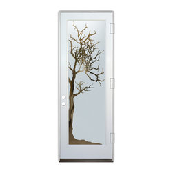 Sans Soucie Art Glass (door frame material Plastpro) - Glass Front Entry Door Sans Soucie Art Glass Winter Tree - Sans Soucie Art Glass Front Door with Sandblast Etched Glass Design. Get the privacy you need without blocking light, thru beautiful works of etched glass art by Sans Soucie!  This glass is semi-private.  (Photo is view from outside the home or building.) Door material will be unfinished, ready for paint or stain.  Bronze Sill, Sweep and Hinges. Available in other finishes, sizes, swing directions and door materials.  Tempered Safety Glass.  Cleaning is the same as regular clear glass. Use glass cleaner and a soft cloth.