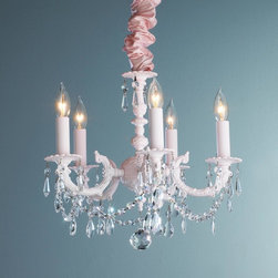 Painted Metal and Crystal Chandelier - 5 light -