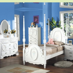 "Acme - 5 PC Flora Collection White Finish Wood Floral Pattern Design Twin Bedroom Set - 5-Piece Flora collection white finish wood floral pattern design twin bedroom set with decorative accents. This set includes the Twin bed with decorative handles, nightstand, dresser, mirror and chest. Twin bed measures 78"" H to the top of the headboard. Nightstand measures 26"" x 17"" x 27"" H. Dresser measures 52"" x 19"" x 39"" H. Mirror measures 47"" x 38"". Chest measures 36"" x 18"" x 52"" H. Also available in full size, and additional pieces also available separately. Some assembly required."