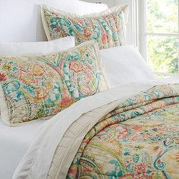 Bethany Paisley Wholecloth Voile Quilt, King/Cal. King - A vase overflows with fanciful blooms on our quilt and sham, rendered in watercolor-like brushstrokes. Precise stitching outlines each bloom and petal of the oversized pattern. Woven of pure cotton. Pure cotton batting. Quilt and sham reverse to solid bisque color. Sham has a quilted front and an envelope closure. Quilt, sham and insert sold separately. Machine wash. Imported.