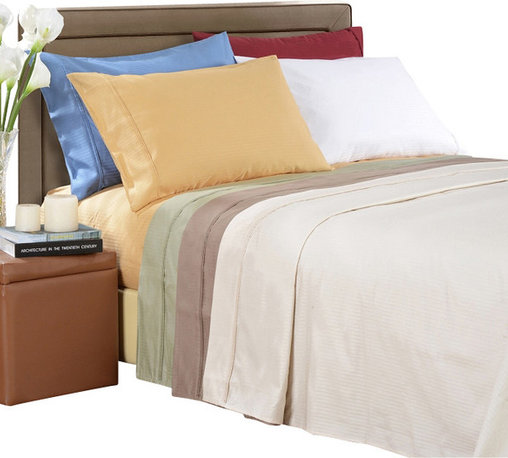 Bed Linens - Egyptian Cotton 1000 Thread Count Stripe Sheet Sets Cal-King Gold - 1000 Thread Count Stripe Sheet Sets