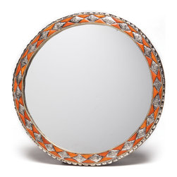 Moroccan Buzz - 18 Inch Round Moroccan Henna Bone Mirror - This distinctive wall mirror is framed with inlaid bone and hand-embossed metal. The natural bone is hand-carved bone and stained with natural henna. Handcrafted and sourced directly from the artisan in the medina (old town) of Marrakech, Morocco.
