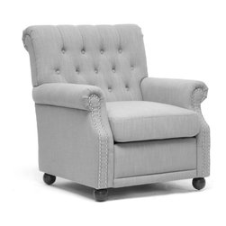 Baxton Studio - Baxton Studio Moretti Light Grey Linen Modern Club Chair - This is a modern take on your old favorite — the club chair. Classic, elegant and stylish, this chair's dense cushioning makes every night a homecoming. And the grey linen, button-tufted backrest and black wooden legs are neutral enough to complement your decor.