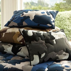 Classic Camo Quilt & Sham | PBteen - Add a strong touch to your child's room with this camo set. Quilt and sham combine to offer cotton cush to their sleep space. A fun way to add color and boldness without overwhelming a space.