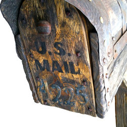 Rustic  mailbox with post - Rustic hand carved mailbox with post. Made from new wood, new metal. Pine, metal, plastic for box inside. Hand forged metal, hand carved wooden nails. Everything is new, made in rustic style.