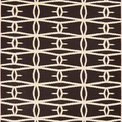 Jill Rosenwald - Jill Rosenwald by Surya Fallon Tubers Wenge Hand Woven Rug - An elongated diamond pattern recalls the geometry of navajo design on the spirited Surya Fallon area rug. Bringing eclectic flair to the modern interior, this graphic floor covering by designer Jill Rosenwald is soft and durable underfoot. 100% hand woven wool . Wenge and winter white . Flat pile. Available in several sizes . Rug pad recommended.