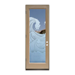 Sans Soucie Art Glass (door frame material Plastpro) - Glass Front Entry Door Sans Soucie Art Glass High Seas 3D - Sans Soucie Art Glass Front Door with Sandblast Etched Glass Design. Get the privacy you need without blocking light, thru beautiful works of etched glass art by Sans Soucie! This glass is semi-private.  (Photo is view from outside the home or building.) Door material will be unfinished, ready for paint or stain.  Bronze Sill, Sweep.  Satin Nickel Hinges. Available in other finishes, sizes, swing directions and door materials.  Tempered Safety Glass.  Cleaning is the same as regular clear glass. Use glass cleaner and a soft cloth.