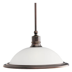 "Progress - Progress-P5079-20-Madison - One Light Mini-Pendant - General - White etched glass (14-1/4 dia. , 4-3/8ht. , 1-5/8 center hole) - Brushed Nickel is a plated finish, theothers are painted  - Steel construction - Companion fixtures: Chandeliers,pendant, hall & foyer, close to ceiling,and bath & vanityMounting - Stem hung ceiling mount - Covers outlet box - Mounting strap for outlet box included - Canopy 5-1/2"" dia.  - Two 12"" and two 15"" stems.  Stems haveinternal thread couplers to attain variouslengths - 90� swivelElectrical - Pre-wired - 10 feet of wire included - Medium based ceramic socket - Threaded socket ring secures glass  Canopy Diameter: 5.50 Rod Length(s): 2-12/2-15"