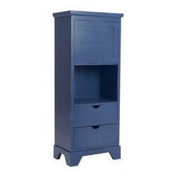 Newport Cottages Andies Tall Bookcase w/ Drawers - Don't you adore this tall storage piece with its versatility? From a top cabinet to open shelving to drawers, this sturdy hardwood piece comes in several several colors with an option of painting the inner part a contrasting color.
