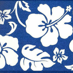 York Wallcoverings - Blue Hibiscus Wallpaper Border - Wallpaper borders bring color, character and detail to a room with exciting new look for your walls - easier and quicker then ever.