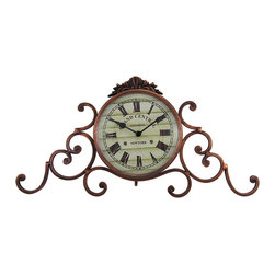 Grand Central Terminal Mantel Clock Antique Bronze Finish - This metal mantel clock features lovely scrollwork on either side, an antique bronze finish, and a face reading, `Grand Central Terminal, New York.` It measures 18 inches long, 9 inches tall, 3 1/2 inches deep, and adds an elegant accent to your home or office. The clock face measures 5 3/4 inches in diameter, features quartz movement, and runs on 1 AA battery (not included).