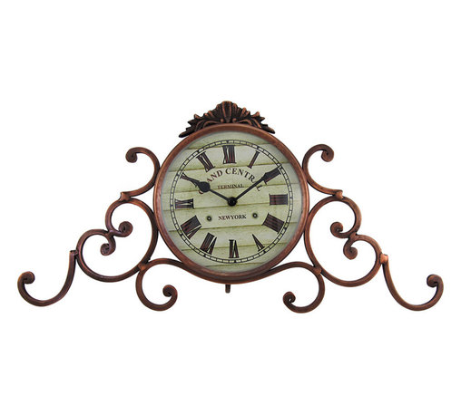 Grand Central Terminal Mantel Clock Antique Bronze Finish - This metal mantel clock features lovely scrollwork on either side, an antique bronze finish, and a face reading, 'Grand Central Terminal, New York.' It measures 18 inches long, 9 inches tall, 3 1/2 inches deep, and adds an elegant accent to your home or office. The clock face measures 5 3/4 inches in diameter, features quartz movement, and runs on 1 AA battery (not included).