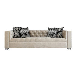 "Lola Sofa in Cream Velvet - Beautifully simple lines and tufted detail combine to create this elegant sofa. Finished here in cream velvet, chrome nail heads and 2"" Lucite Block Legs."