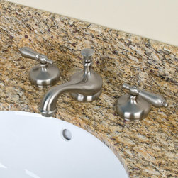 Tullamore Widespread Faucet - Lever Handles - Brushed Nickel - Made with solid brass materials, this high-quality faucet showcases a traditional design that will instantly update your bath or powder room. The spout features a classic shape that is accented by metal lever handles.