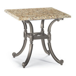 Frontgate - Carlisle Granite-top Outdoor Side Table in Gray Finish, Patio Furniture - Fine-furniture design. Smoothly polished Venetian gold granite top with enhanced UV protection. Base is 100% ingot aluminum, a premium quality material. Hand-filed welds. Rich, multilayered slate finish with UV protected top coat. Our Carlisle Slate Granite-top Side Table's impeccable materials and craftsmanship will stand the test of time. The Venetian gold granite top is smoothly finished and sealed for lasting beauty. Elegant, cast-aluminum base has a rich, multilayered slate finish. Part of the Carlisle Slate Collection.  .  .  .  .  . Granite is a natural product and may have slight variation in color and pattern on each table. Granite Care: Cover in cold weather months; no sealant is required. Granite top rests on the base, does not require any hardware . Assembly required on base .