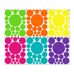 Create-A-Mural - Fun Colored Room Dot Wall Decals - Have a blast decorating any room with positively addictive polka dot wall decals! The 126 pre-cut, self stick wall dots help you design a fun colored theme room in under an hour.
