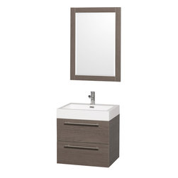 """Wyndham Collection - Amare 24"""" Wall-Mounted Bathroom Vanity Set, Grey Oak - Product Features"""