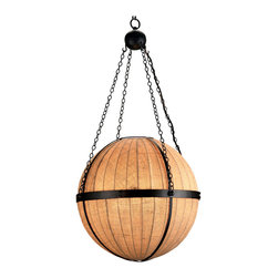 Kathy Kuo Home - Modern Rustic Grande Orb Pendant Lantern - Drawing upon the earthy modern attitudes of mid century design, this wrought iron and burlap orb light creates a distinctive yet simple effect.  Effectively a ball and chain chandelier, this piece creates effortless sophistication and a undertone of Asian organic lighting style.