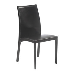 Euro Style - Black Leather Dining Chairs-Set of 2 - Dafney - Set of 2. Seat, back and legs covered completely in leather. Pictured in Black Leather. 18 in. W x 22 in. L x 37 in. H (17.6 lbs.)