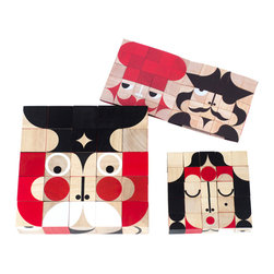 Miller Goodman - Mini FaceMaker Blocks - Let the imagination soar when you play with these 25 colorful, mini wooden blocks. The red, white and black shapes form faces that are interesting and whimsical. Designed by Zoe Miller and David Goodman, this FaceMaker block set is fun for kids and adults alike.