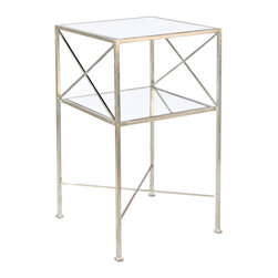 "Worlds Away - Worlds Away Henri Silver Square Side Table - Simple and chic, Henri marks the spot with X sides and stretcher connecting its slender silver leaf frame. Inset mirror tops the two tiers of this glamorous Worlds Away side table. 15"" Sq x 28""H. Silver leaf finish. 2 mirrored shelves."