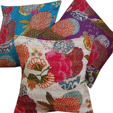 Indian Kantha Cushion Covers - White - White/Multi Kantha Stitch Cushion Cover. These striking Kantha cushion covers are printed in a vibrant tropical fruit and floral design. These exotic cushion covers will bring a splash of colour and ethnic appeal to your home. 100% Cotton Size: 40cm x 40cm