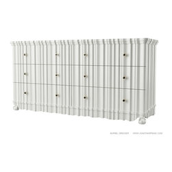 JONATHAN FRANC - BURNEL DRESSER by Jonathan Franc - White Lacquer 6Drawer Dresser  with Satin Brass and Stingray pulls