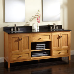 "72"" Loei Bamboo Double Vanity for Undermount Sinks - A stone counter tops off the spacious 72"" Loei Vanity, which features solid bamboo construction."