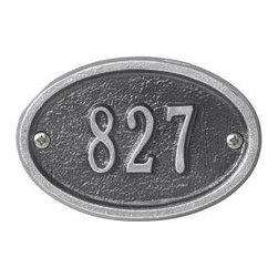 Whitehall Ultra Petite Address Plaque, Oval - This tiny Whitehall address plaque is 3 x 4.5 and can hold up to four characters.  It is available from http://www.justaddressplaques.com with free shipping.