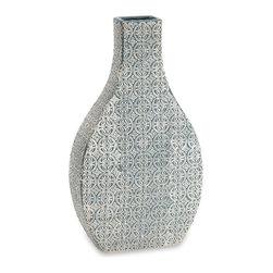 "Imax - Imax Layla Medium Blue and Ivory Ceramic Vase 16.5"" x 9.5"" x 4.25"" - Imax 87543 Layla medium blue and ivory pattern ceramic vase 16.5"" x 9.5"" x 4.25"""