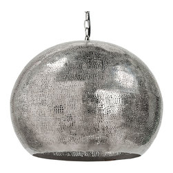 Kathy Kuo Home - Claesson Industrial Loft Pierced Metal Sphere Pendant - There is never a need for an excuse to dance. However, if you find yourself less than willing to break out in the two-step anytime you wish, let this pendant light be the guiding beacon of hair-letting-down you need. The pierced metal shade provides different and interesting points of light, cast around your room to create an entirely unique atmosphere, beckoning your creative side and encouraging you to get up and dance.