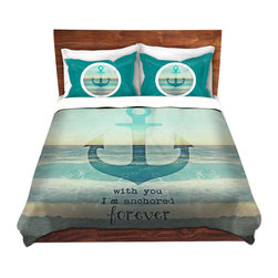 DiaNoche Designs - Duvet Cover Microfiber - With You I'm Anchored Forever - DiaNoche Designs works with artists from around the world to bring unique, artistic products to decorate all aspects of your home.  Super lightweight and extremely soft Premium Microfiber Duvet Cover (only) in sizes Twin, Queen, King.  Shams NOT included.  This duvet is designed to wash upon arrival for maximum softness.   Each duvet starts by looming the fabric and cutting to the size ordered.  The Image is printed and your Duvet Cover is meticulously sewn together with ties in each corner and a hidden zip closure.  All in the USA!!  Poly microfiber top and underside.  Dye Sublimation printing permanently adheres the ink to the material for long life and durability.  Machine Washable cold with light detergent and dry on low.  Product may vary slightly from image.  Shams not included.