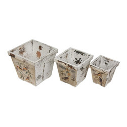 Oriental Furniture - Rustic Peaceful Birds Flower Planters - Set of three rustic wooden planter boxes. Hand crafted with mitered wood edging and small square feet. Unique but complimentary decoupaged perched bird and flower art on each planter, finished in a highly distressed antique white with visible wood. Shabby chic flower boxes for vintage, traditional, or eclectic interior decor.