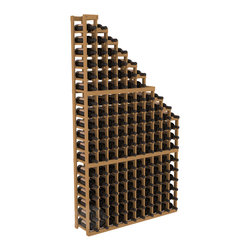 Wine Cellar Waterfall Display Kit in Pine with Oak Stain - A beautiful cascading waterfall of wine bottle displays. Create a spectacle of 9 of your favorite vintages. Designed within our modular specifications and to Wine Racks America's superior product standards, you'll be satisfied. We guarantee it.