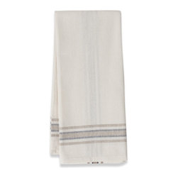 Origin Crafts - Khadhi cotton tea towels (white/beige/navy), set of 2 - Khadhi Cotton Tea Towels (White/Beige/Navy), Set of 2 The Khadhi collection of refined linens embodies a nostalgic vintage French style. Because Khadi cotton fabric is entirely handmade ? from the spinning to weaving stage, it has a natural, earthy look and feeling. At the same time, it?s understatedly chic and these Khadhi tablecloths, napkins and handkerchiefs are perfect for outdoor dining, complementing a rustic breakfast table or contrasting and softening a modern dining room setting. A Caravan exclusive. Each 100% cotton tea towel is entirely handmade and yarn dyed for a natural texture. Easy care and practical: machine washable, ironing is optional. Dimensions (in):20x30 By Couleur Nature - Couleur Nature is a wholesaler of fine, French-inspired Indian woodblock-printed and vintage linens. Couleur Nature?s linens and home accessories are versatile and can be used for formal or casual table settings year-round, as well as the every day. Their distinct but wide appeal makes them ideal for almost any occasion, decor or personal style. Usually ships in three business days. Our linens are handmade: slight variations are natural and make each piece unique.