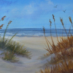"""""""Through The Dunes"""" (Original) By Jane Mcelvany-Coonce - """"Through The Dunes"""" Is An Original Painting In Acrylic.  It Depicts Sand Dunes With The Ocean In The Background. Seagulls Fly Above The Beach."""
