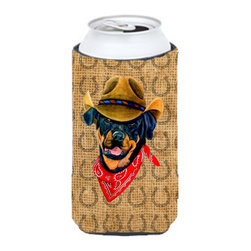 Caroline's Treasures - Rottweiler Dog Country Lucky Horseshoe Tall Boy Koozie Hugger - Rottweiler Dog Country Lucky Horseshoe Tall Boy Koozie Hugger Fits 22 oz. to 24 oz. cans or pint bottles. Great collapsible koozie for Energy Drinks or large Iced Tea beverages. Great to keep track of your beverage and add a bit of flair to a gathering. Match with one of the insulated coolers or coasters for a nice gift pack. Wash the hugger in your dishwasher or clothes washer. Design will not come off.