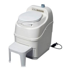 Sun-Mar SpaceSaver Electric Waterless Composting Toilet - This composting toilet meets the standards of the National Sanitation Foundation Standard 41 testing.Additional FeaturesFitted with a high quality turbo fanAlso has vent stack for added odor controlEvaporation is limited due to smaller sizeSafety drains are included to prevent messesDepth required to remove drawer: 38 inchesVent outlet center distance from right side: 7 inchesRequires drilling into your wall or ceiling for ventingUses standard toilet paperIncludes a 3-5 year limited warranty Designed for those with very limited space the Sun-Mar SpaceSaver Electric Waterless Composting Toilet measures only 19.5W x 23D x 30H inches and will fit into a small closet. Rated for use by one adult or families of two this toilet is fitted with a high quality turbo fan and has a vent stack for added odor control. Evaporation is limited due to its smaller size so safety drains are included to prevent messes. This toilet requires drilling into your wall or ceiling for venting and comes with a three to five year limited warranty.Sun-MarIn 1971 Hardy Sunberg developed the world's first self-contained composting toilet that could be put in a bathroom and would evaporate liquids and compost solids. Over the years he developed a rotating drum with three chambers that would become the foundation for today's toilets. To this day Sun-Mar remains the world leader in researching and developing composting toilets. From self-contained units to central units and even composting toilets that are specially made for RVs and boats Sun-Mar has over twenty models to choose from and each is made to fill a specific need. Sun-Mar ensures that each of their toilets take advantage of a using a drum to create compost through aeration and mixing. All Sun-Mar toilets are also certified by the National Sanitation Foundation.